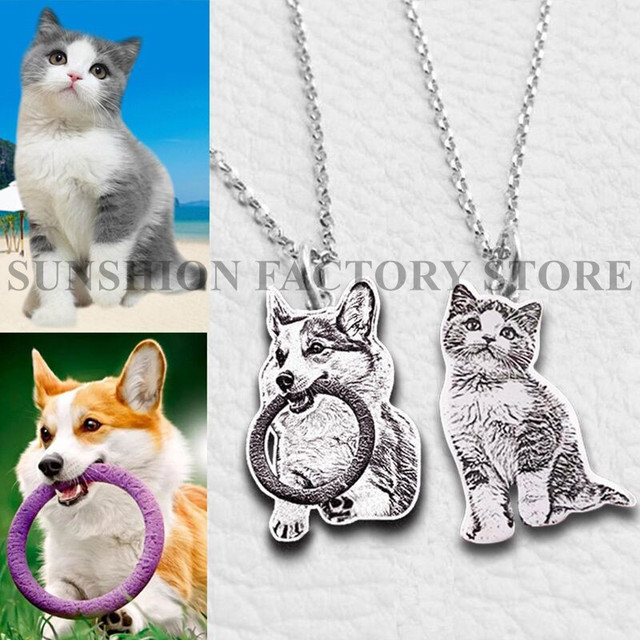 Custom Pet Necklace Personalized Pet Custom Memory Jewelry Photo Pendant Engrave Name 925 Sterling Silver Dog CAT Tag portrait