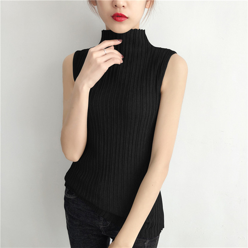 XUXI 2020 Combinable Knitting Turtleneck Sweater High Neck Sweater Elastic Vest New Korean Spring Sweater FZ0732