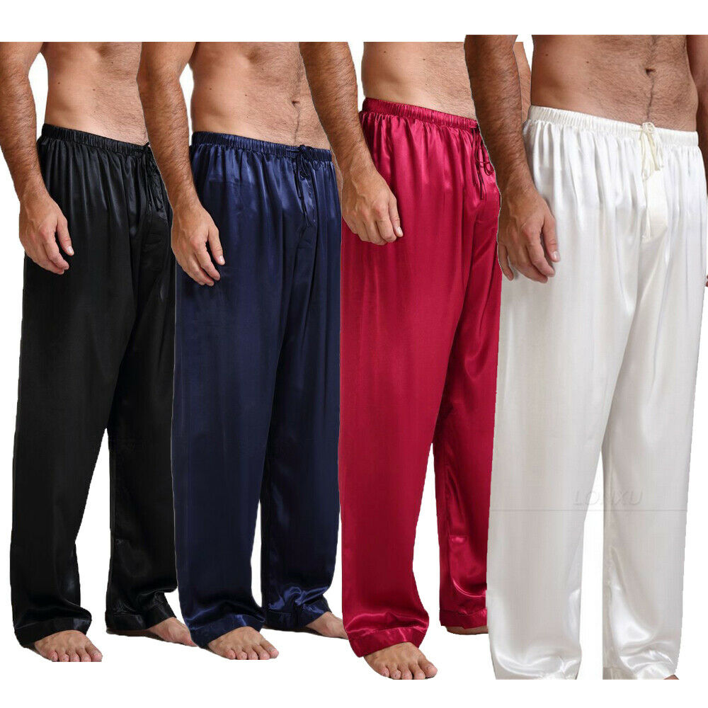 Mens Loose Sleep Bottoms Nightwear Sleepwear Bath Pajamas Satin Silk Long Lounge Pants Pyjamas NEW