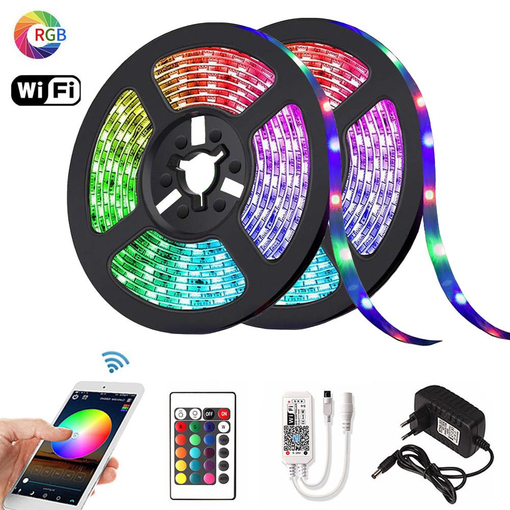 RGB LED Strip 2835 DC 12V 5m 10m 15m Waterproof WiFi Flexible Diode Tape Ribbon Fita Tira LED Light Strips With Remote + Adapter(China)