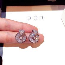 Pendientes de botón Pendientes de plata con piedra de circón brillante párr mujer de joyería coreana 2020