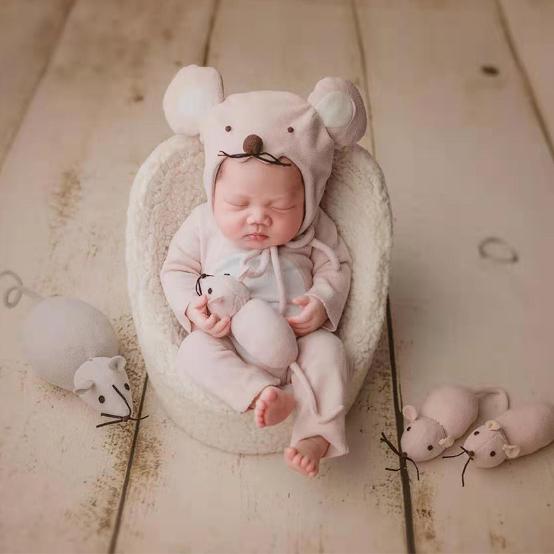Mouse baby theme set for newborn full moon shooting costumes props accessories  hat+cloth 1