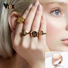 Vnox Chic Personalized 14mm Signet Ring for Women, Stainless Steel Metal Round Top Stamp Band Minimalist Female Finger Jewelry