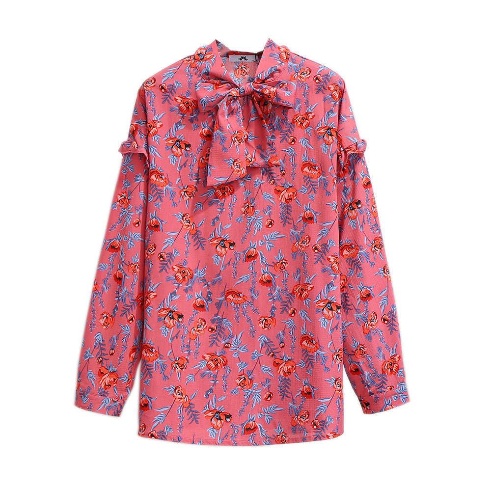 2019 neue frühling herbst plus größe tops für frauen große bluse langarm lose beiläufige revers bogen floral hemd rot 4XL 5XL 6XL 7XL