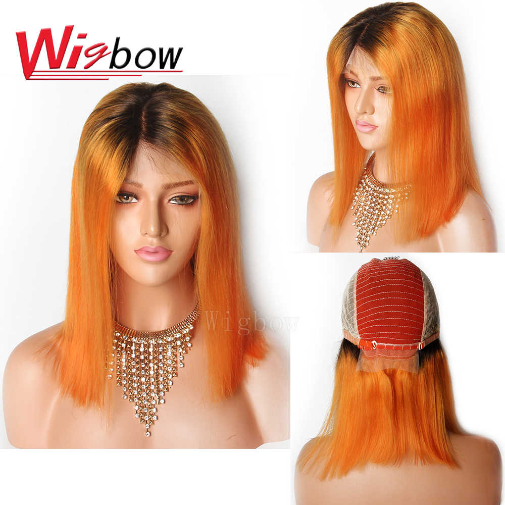 Wigbow 150% Short Bob Lace Front Wigs For Black Women 1B Orange Ombre Lace Front Wigs Pre Plucked Brazilian Remy Hair