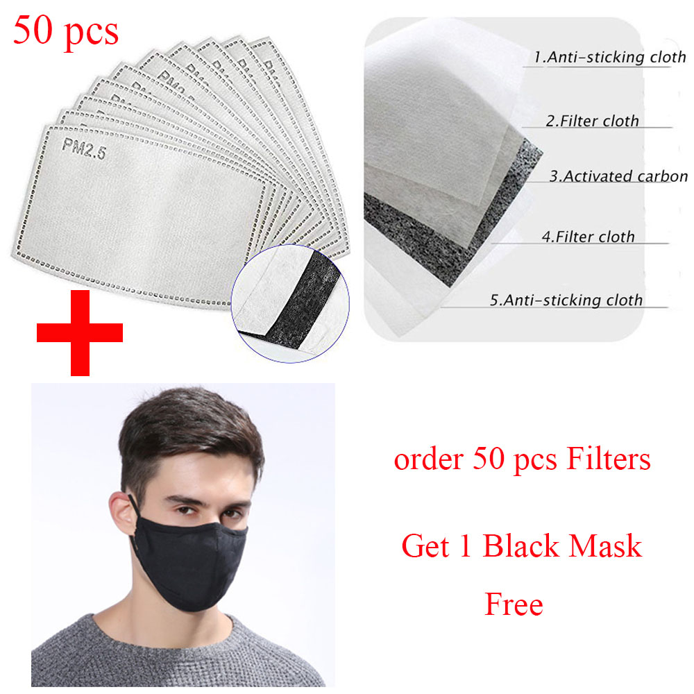 50Pcs/Lot 5 Layers PM2.5 Carbon Filter Face Anti Dust Mask Activated Insert Filter Media Insert Protective Mouth Mask