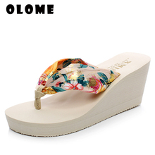Summer Sandals Platform-Slippers Wedge Women Shoes Flip-Flops female Casual Bohemia Floral