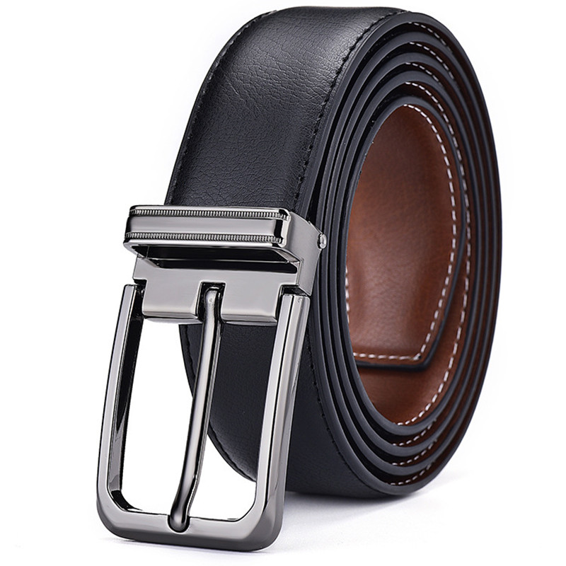 Brand Men's genuine leather Belt quality alloy Pin buckle Women's business affairs cowhide The belt can be used on both sides