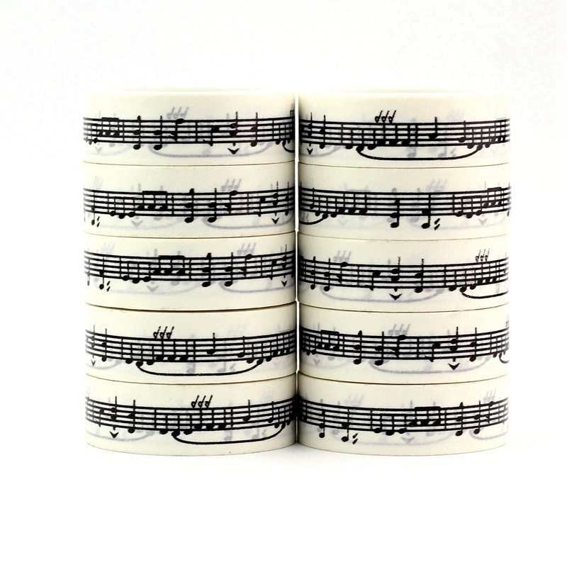 10PCS/lot Decorative Black And White Music Note Washi Tapes Japanese Paper DIY Planner Adhesive Masking Tapes Sticker Stationery