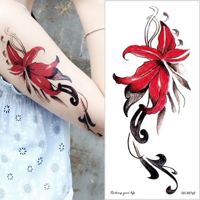 temporary armband tattoos waterproof temporary tattoo sticker flower lotus tattoo sleeve women wrist arm sleeves tatoo fake girl 5