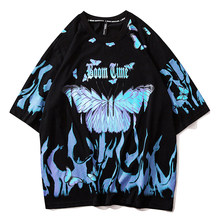 Flame butterfly Printed T Shirt Oversized Tshirts 2021 Summer Unisex Short Sleeve Loose Cotton Couple Tops tees