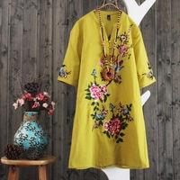 Plus Size Dresses For Women 4xl 5xl Embroidered Dress Women Retro Ladies Dresses Vintage Embroidery Vestidos Vestidos De Festa