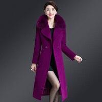 2019 nuove donne invernali cappotto di lana grande collo di pelliccia cappotto in misto lana Plus size 5XL elegante cappotto lungo Outwear Manteau Femme Hiver