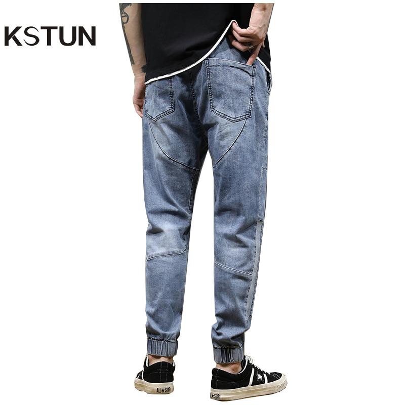 KSTUN Jeans Men Light Blue Stretch Jogger Pants Loose Fit Spliced Harem Pants Casual Streetwear Hip Hop Jeans Men Ankle Banded