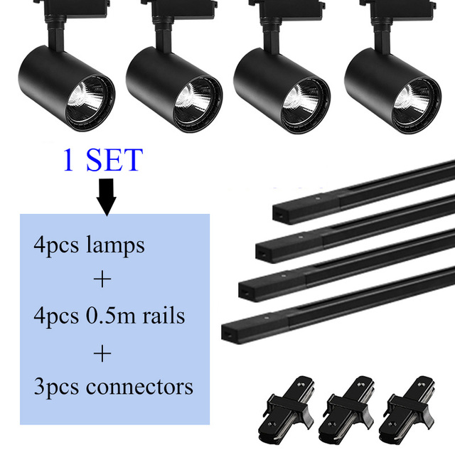 LED Track Lights 12W 20W 30W 40W COB Spot Light Fixtures Track Lamps Ceiling Mounted Rail Lighting Aluninum Led spotlights