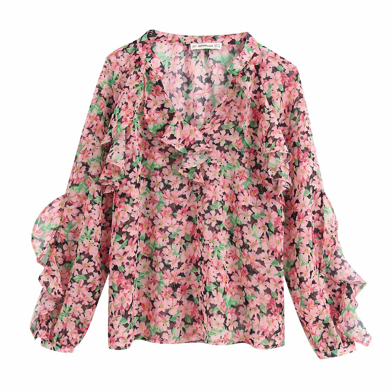 2020 Women V Neck Ruffles Decoration Print Casual Smock Blouse Shirts Women Long Sleeve Chic Chemise Femininas Blusa Tops LS6368