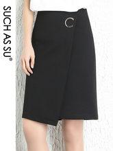 Женская трикотажная юбка с блестками черная Асимметричная составного