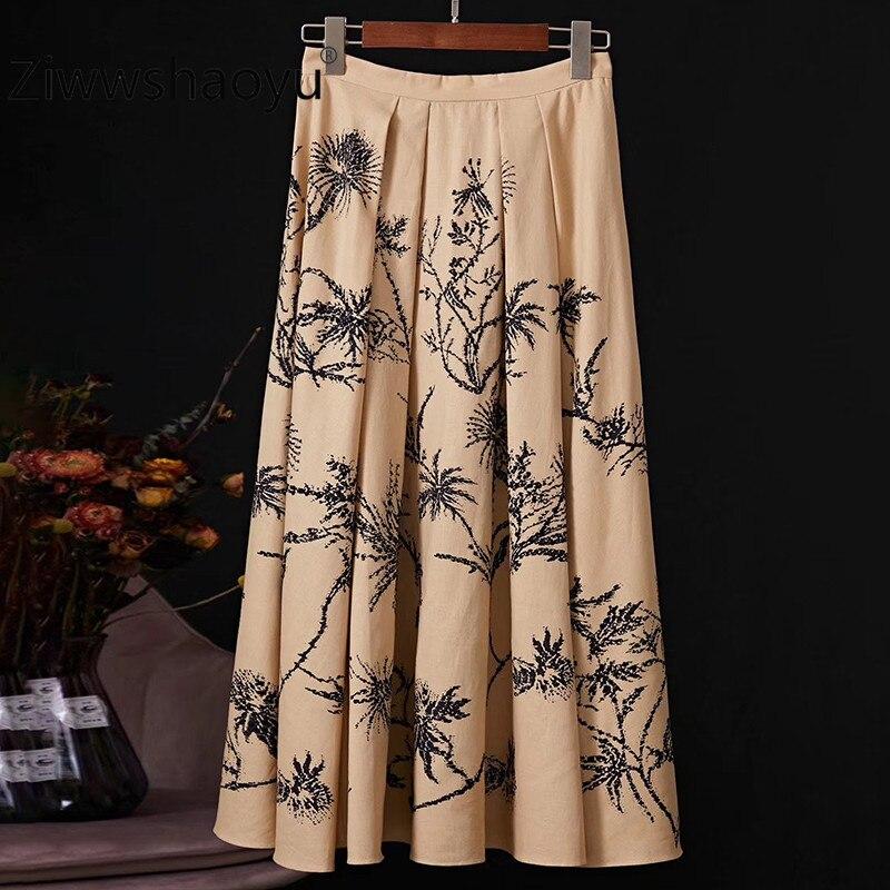Ziwwshaoyu Runway Designer Fashion Brand Skirt Women's Plant Printing Rhinestone Cotton Linen Skirt Women