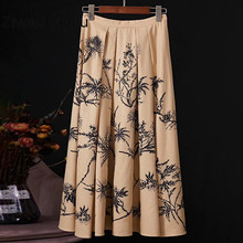 цена на Ziwwshaoyu Runway Designer Fashion Brand Skirt Women's Plant Printing Rhinestone Cotton linen Skirt Women