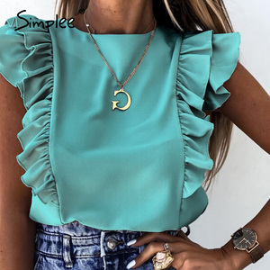Simplee Elegant embroidery solid white tops Women sleeveless chiffon cami tops Sexy summer style tank tops female tops 2020