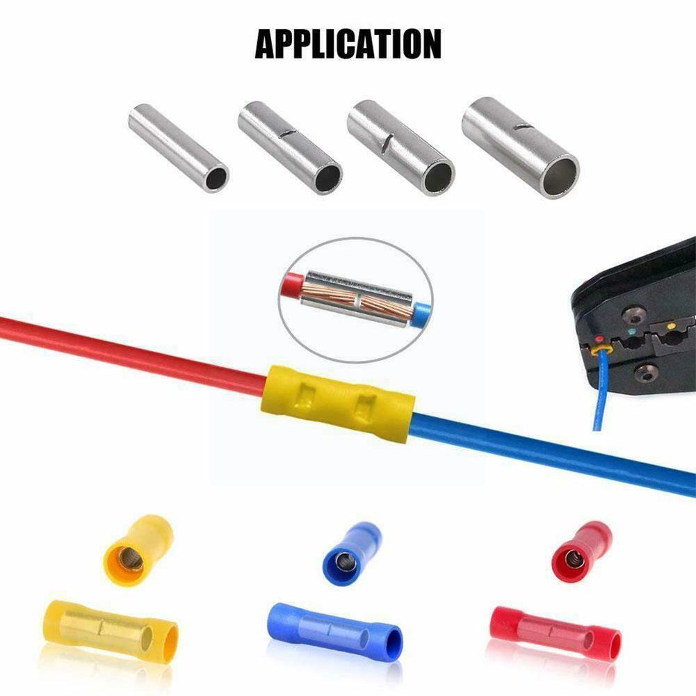 200pcs Assorted Insulated Crimp Terminals Electrical Wire Kit Connectors Butt Insulated Terminal Cable Butt Crimping Connectors