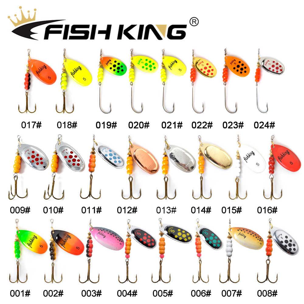 FISCH KÖNIG 1pc Spinner Köder Size1 #2 #3 #4 #5 # Angeln Locken Bass Hecht harte Köder Löffel Höhen Haken Fishing Tackle Qualität