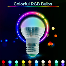 Colorful RGB LED Bulb E27/E26/E14/B22/GU10/MR16 LED Spot Bulbs IR Remote Control changing 16 Colors Bulb Lamp AC85-265V 3W D40