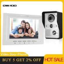 OWSOO 7 inch Wired Video Doorbell video intercom Rainproof Camera Visual Intercom Two way Audio Remote Unlock Video Door Phone