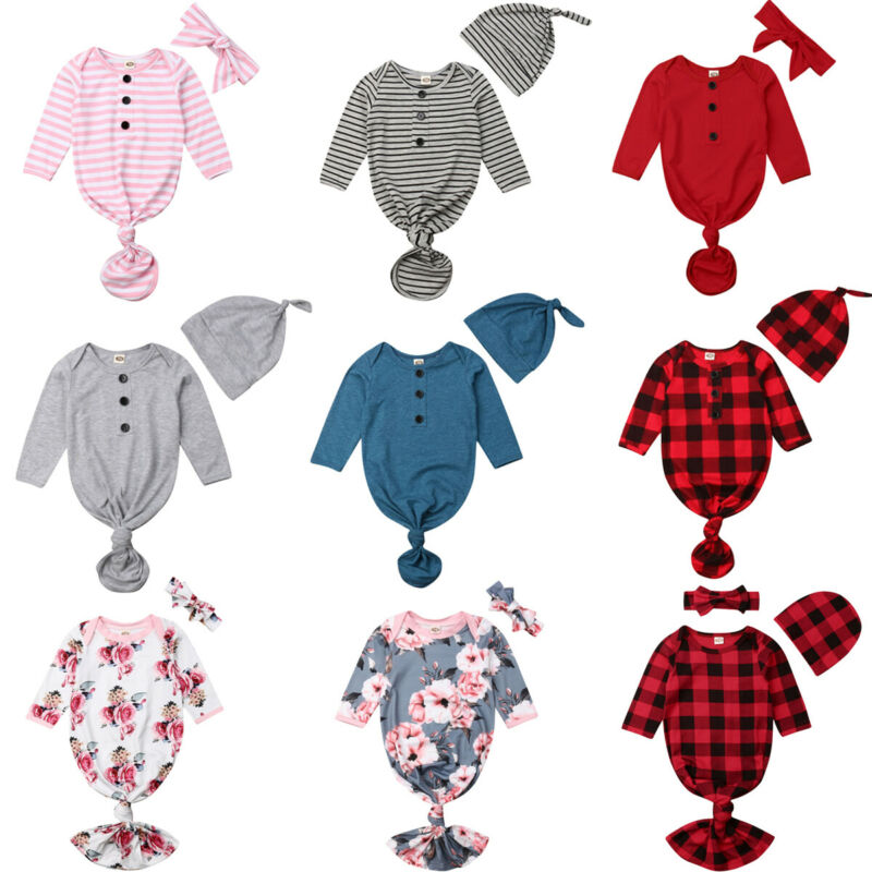 Newborn Baby Gown Cotton Nightgown Long Sleeve Striped Baby Sleeping Bags Baby Boy Girl Coming Home Clothes Outfits Set