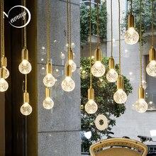 Modern minimalist Nordic glass single head bulb personalized carving pendant lamp coffee living room restaurant shop loft bar