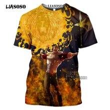 LIASOSO-Camiseta con estampado 3D DE LOS Seven Deadly Sins para hombre, camisa informal de verano con estampado de Anime japonés, Meliodas, halcón, Escanor, Estarossa