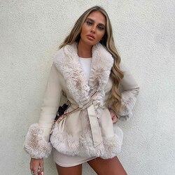 RR Solid Winter Faux Fur Jackets Women Fashion Tie Belt Waist Coats Women Elegant PU Leather Side Pockets Jackets Female Ladies