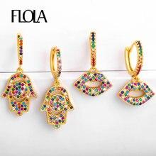 FLOLA-pendientes de mano de Fátima para mujer, arcoíris dorado, pendientes de arcoíris de circón Hamsa, joyería Huggie de 24K, colgante de mano, Fátima ersr55