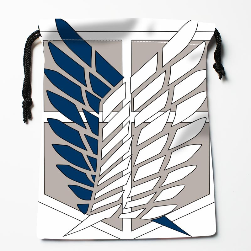 New Arrive  Attack On Titan Drawstring Bags Custom Storage Bags Storage Printed Gift Bags More Size 27x35cm DIY Your Picture