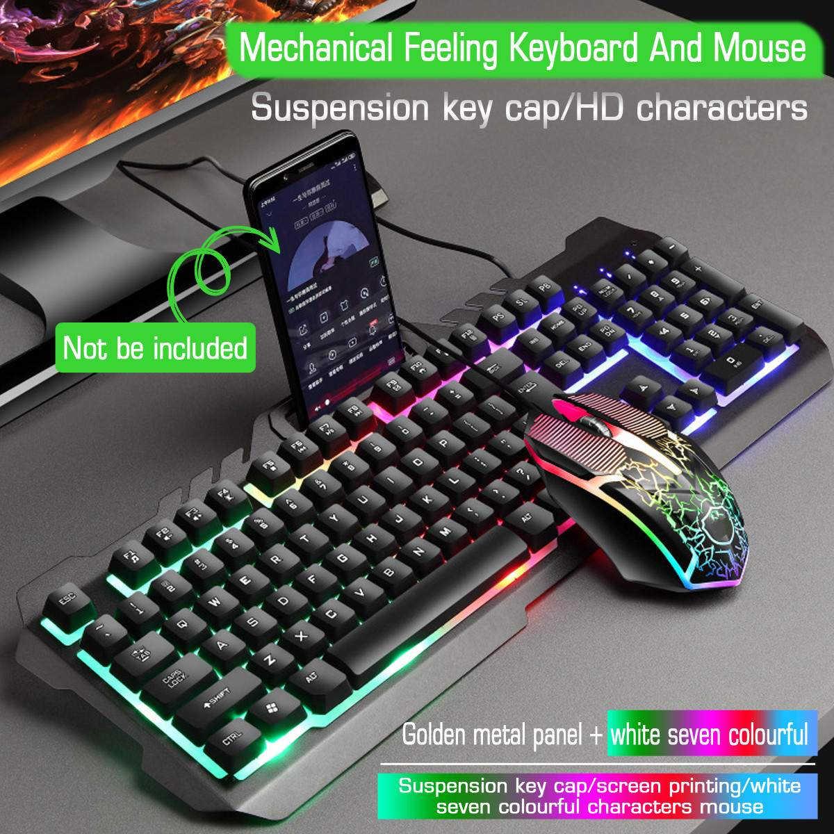 Wired Metallo Luminoso Retroilluminato Usb Laser Mouse Tastiera Del Computer Set Tastiera Meccanica Sentire Pc Gaming Gamer Computador Clavier