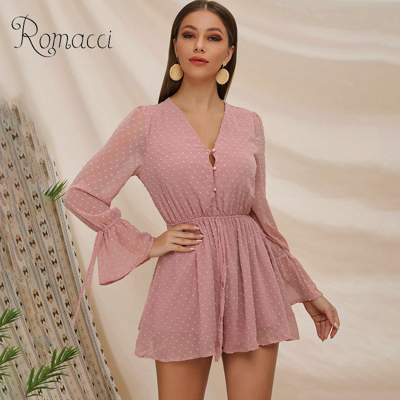 Romacci Sexy V Neck Embroidery Dot Chiffon Women Jumpsuit Elegant Buttons Summer Overalls Casual Jumpsuit Romper Party Playsuit
