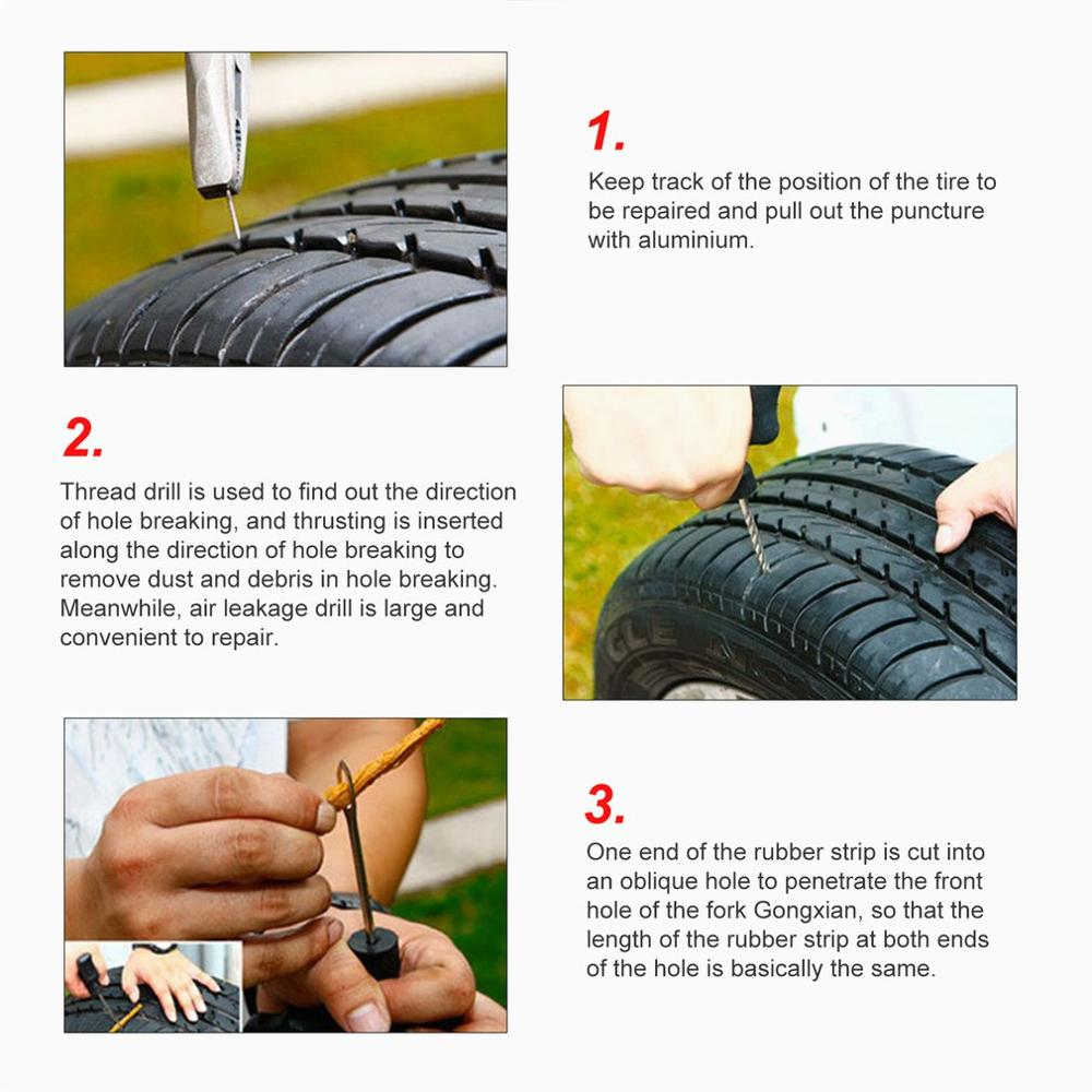 Heavy Duty Tubeless Tire Puncture Repair Tool Set T-Handle Tyre Plug Kit for Car Truck Motorcycle Bike Jeep