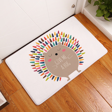 Cartoon Animal Print Hallway Entrance Doormat Anti Slip Bath Kitchen Carpet Home Decor Flannel Plush Living Room Rug