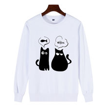 Winter Pullover Sweatshirts 100% Cotton Women Cat Kawaii Poleron Mujer 2019 School Korean Streetwear Vogue Cute Cat Cloth Femme(China)