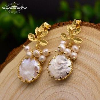 GLSEEVO Natural Fresh Water Baroque Pearl Earrings For Women Plant Leaves Dangle Earrings Luxury Handmade Fine Jewelry GE0308