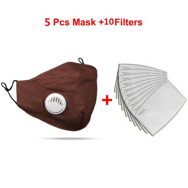 10PC Cotton 2p PM2.5 mouth Mask anti dust mask Activated carbon filter Windproof Mouth-muffle bacteria proof Flu Face masks Care 5