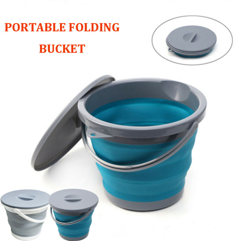 5L Foldable Bucket Car Wash Outdoor Fishing Round Bathroom Kitchen Bucket With Lid Large Capacity Save Space