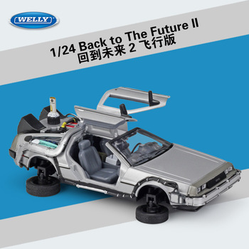 Welly 1:24 Movie Number One Player Back to the Future Flight Edition car model Collect gifts toy