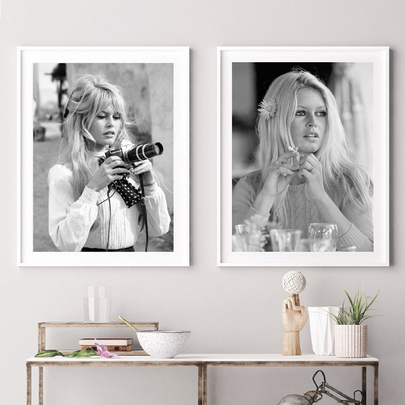 brigitte bardot french fashion poster canvas art prints black and white model photo vintage picture art painting wall decor