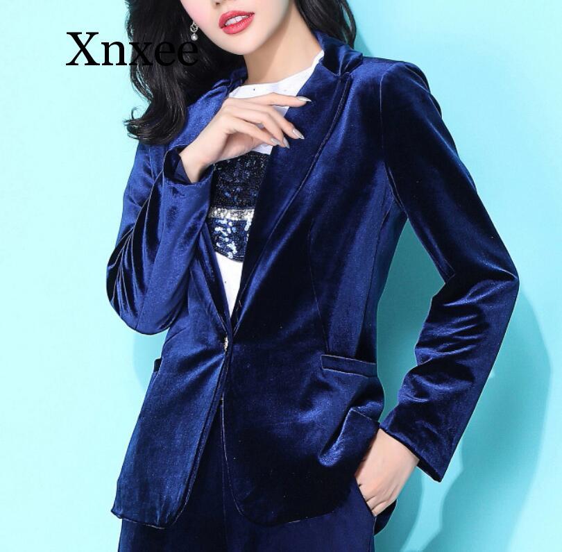 High Quality New Velvet Women Blazer Black Blue Elegant Lady Blazers Suits top Plus Size Long Sleeve Slim Office Suit Jacket