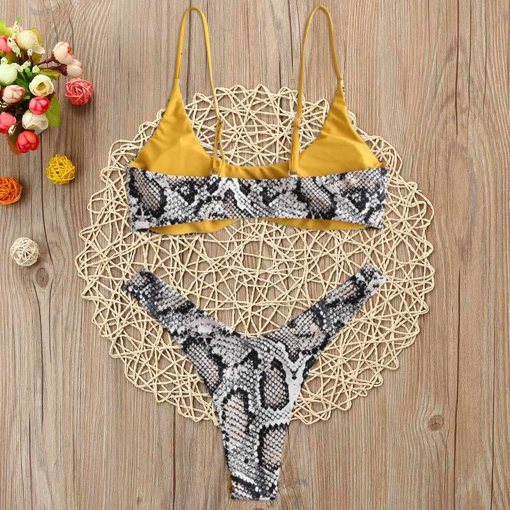 40 ^ Bikini Baju Renang Baju Renang Wanita Baju Renang Kulit Ular Tinggi Memotong V Neck Dua Musim Panas Pakaian Pantai Biquini Купальник женский