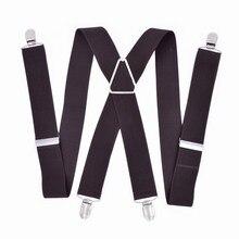 Grande tamanho suspensórios grandes homens ajustável elástico x voltar calças feminino suspensórios para calças 55 Polegada clipes no cofre escuro