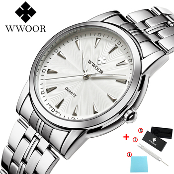 WWOOR luxury Brand Classic Silver Watch Men Waterproof Stainless Steel Fashion Creative Dial Quartz Wristwatch Mens Montre Homme thin case mens wristwatch nylon watch band casual men wood watch analog dial display black stainless steel buckle montre homme