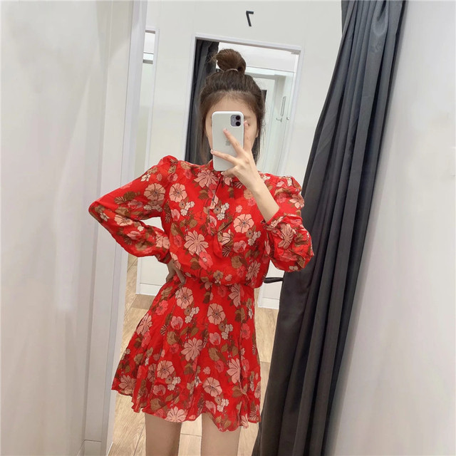 Red Floral Printed Chiffon Mini Dress Women Za 2020 Fashion Bow O-neck Pleated Long Sleeve Dress Woman Vintage Elegant Dresses 3