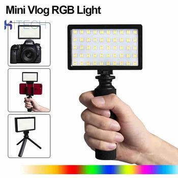CL-120C 3200K-5600K Mini Vlog LED Video Light Tripod Kit CRI 95 Dimmable Colorful RGB Fill Light Photographic Lighting цена 2017